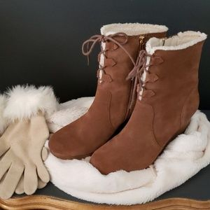Michael Kors Rory chestnut suede wedge boots